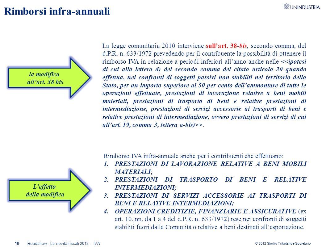 © 2012 Studio Tributario e Societario Rimborsi infra-annuali 18Roadshow - Le novità fiscali 2012 - IVA la modifica all'art. 38 bis La legge comunitari