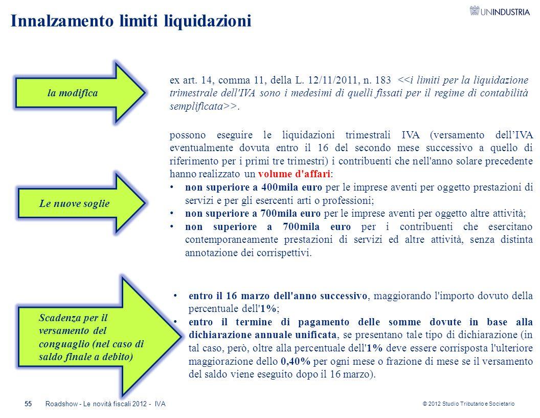 © 2012 Studio Tributario e Societario 55Roadshow - Le novità fiscali 2012 - IVA la modifica possono eseguire le liquidazioni trimestrali IVA (versamen