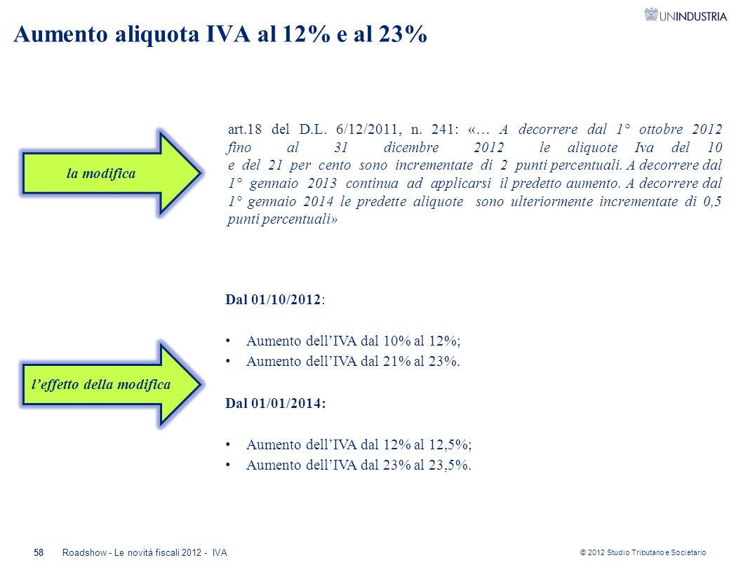 © 2012 Studio Tributario e Societario Aumento aliquota IVA al 12% e al 23% art.18 del D.L. 6/12/2011, n. 241: «… A decorrere dal 1° ottobre 2012 fino