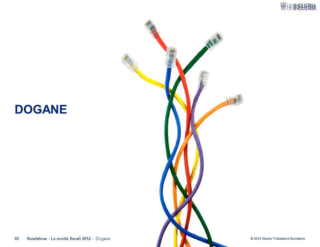 © 2012 Studio Tributario e Societario 69Roadshow - Le novità fiscali 2012 - Dogane DOGANE