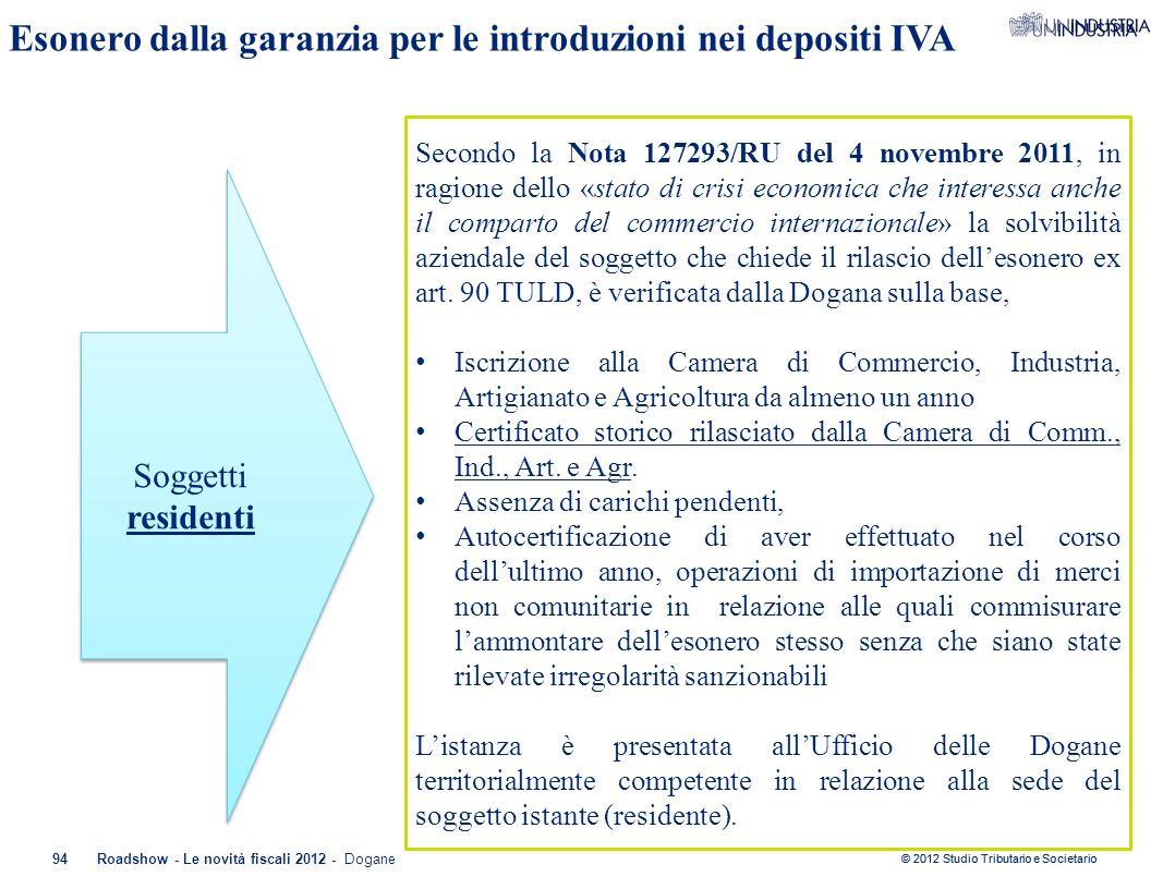 © 2012 Studio Tributario e Societario 94Roadshow - Le novità fiscali 2012 - Dogane Esonero dalla garanzia per le introduzioni nei depositi IVA Soggett