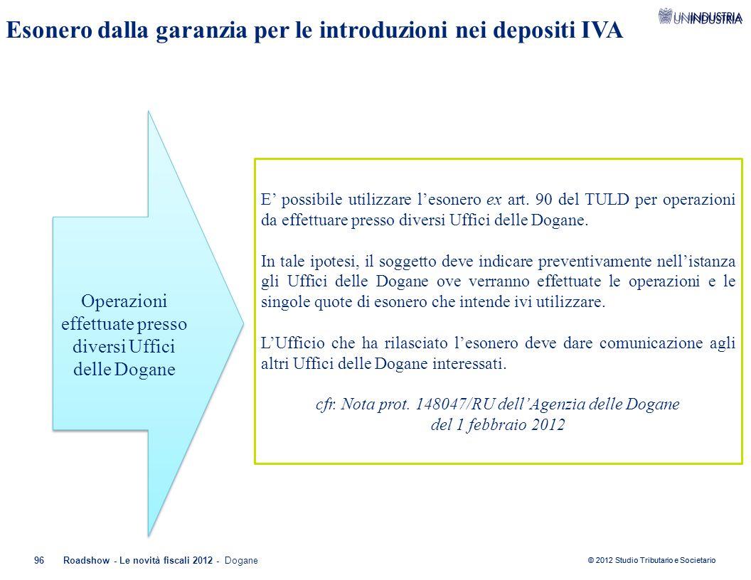 © 2012 Studio Tributario e Societario 96Roadshow - Le novità fiscali 2012 - Dogane Esonero dalla garanzia per le introduzioni nei depositi IVA Operazi