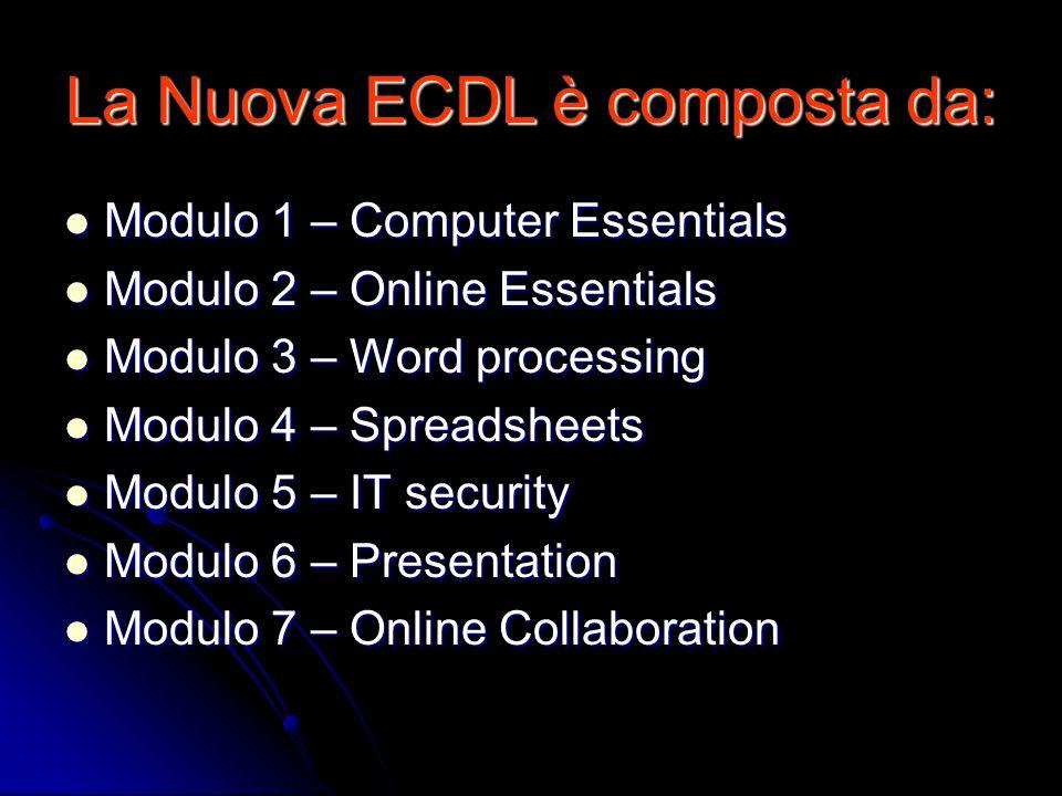 La Nuova ECDL è composta da: Modulo 1 – Computer Essentials Modulo 1 – Computer Essentials Modulo 2 – Online Essentials Modulo 2 – Online Essentials M