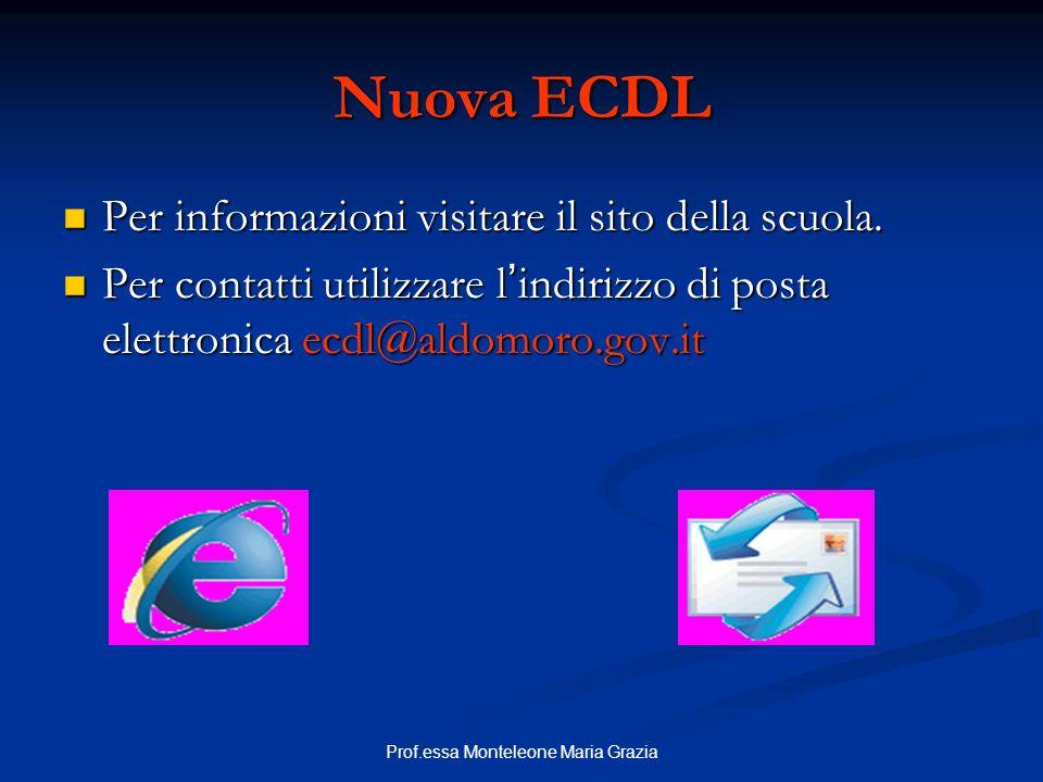 Prof.essa Monteleone Maria Grazia Nuova ECDL Per informazioni visitare il sito della scuola. Per informazioni visitare il sito della scuola. Per conta