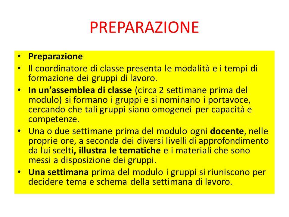 PREPARAZIONE Preparazione Il coordinatore di classe presenta le modalità e i tempi di formazione dei gruppi di lavoro.