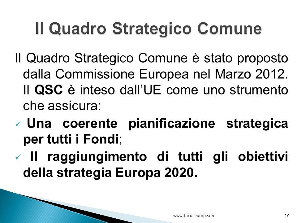Il Quadro Strategico Comune è stato proposto dalla Commissione Europea nel Marzo 2012. Il QSC è inteso dall'UE come uno strumento che assicura: Una co