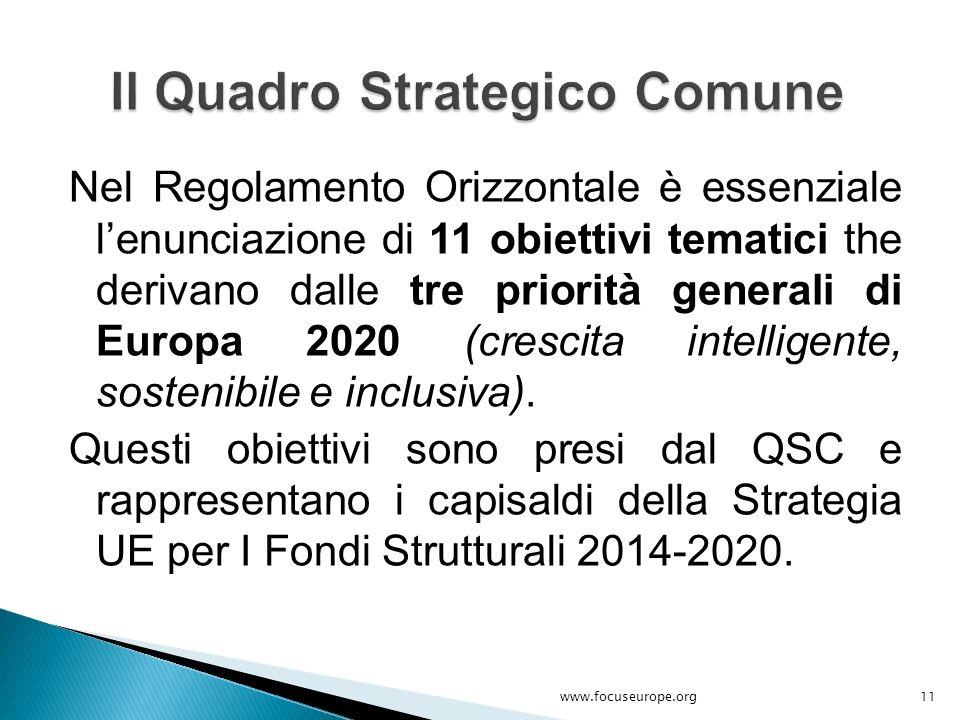 Nel Regolamento Orizzontale è essenziale l'enunciazione di 11 obiettivi tematici the derivano dalle tre priorità generali di Europa 2020 (crescita int