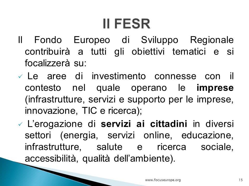 Il Fondo Europeo di Sviluppo Regionale contribuirà a tutti gli obiettivi tematici e si focalizzerà su: Le aree di investimento connesse con il contest