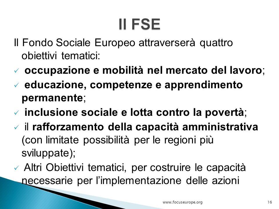 Il Fondo Sociale Europeo attraverserà quattro obiettivi tematici: occupazione e mobilità nel mercato del lavoro; educazione, competenze e apprendiment