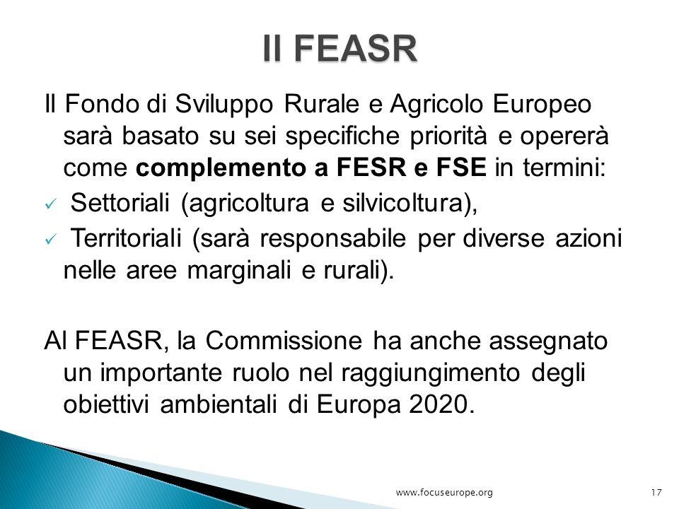 Il Fondo di Sviluppo Rurale e Agricolo Europeo sarà basato su sei specifiche priorità e opererà come complemento a FESR e FSE in termini: Settoriali (
