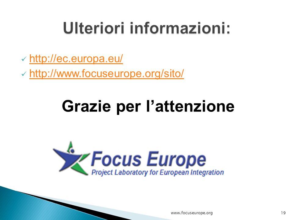 http://ec.europa.eu/ http://www.focuseurope.org/sito/ Grazie per l'attenzione 19www.focuseurope.org