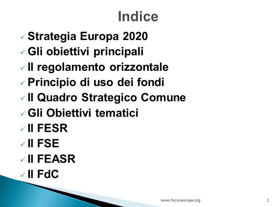 Europa 2020 è la strategia di crescita del prossimo decennio dell'Unione Europea, il cui scopo è di affrontare le carenze del nostro modello di sviluppo e di creare le condizioni per un differente tipo di crescita che sia:  Più intelligente  Più sostenibile  Più inclusivo 3www.focuseurope.org