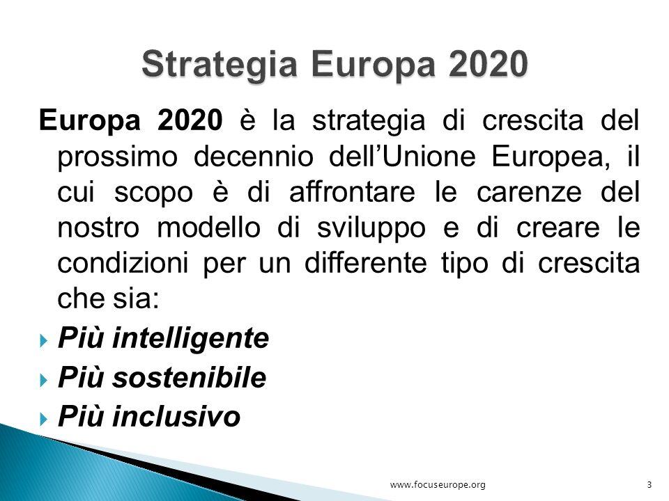 Europa 2020 è la strategia di crescita del prossimo decennio dell'Unione Europea, il cui scopo è di affrontare le carenze del nostro modello di svilup