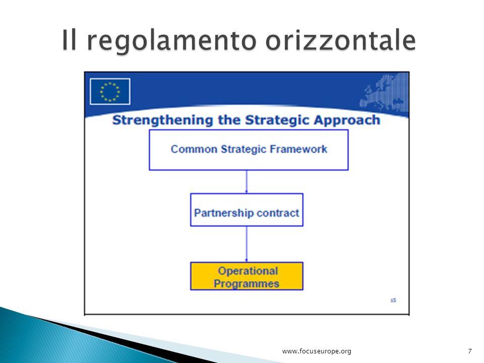 I principi sottostanti la proposta sono: Rafforzamento dei partenariati e dei governi multi-livello; Coordinamento delle politiche di coesione con quelle di sviluppo rurale e con le altre politiche UE; Definitione di un limitato numero di priorità e politiche chiave con rispetto delle quali concentrare gli investimenti.