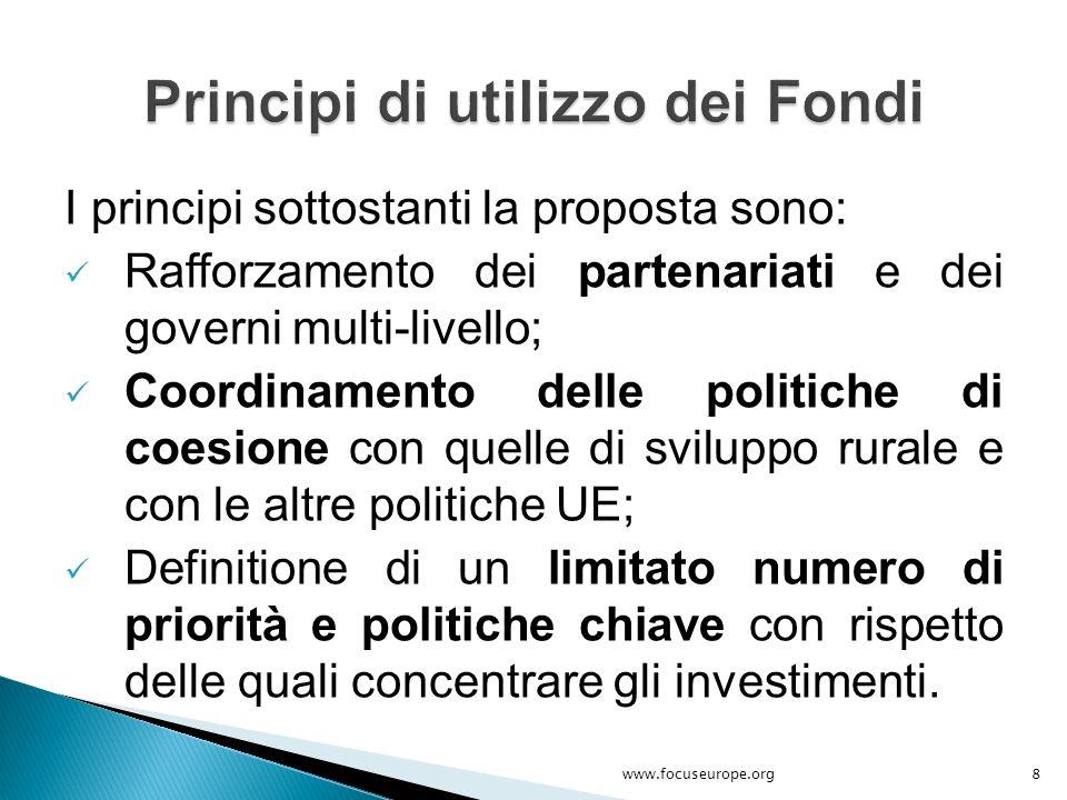 I principi sottostanti la proposta sono: Rafforzamento dei partenariati e dei governi multi-livello; Coordinamento delle politiche di coesione con que