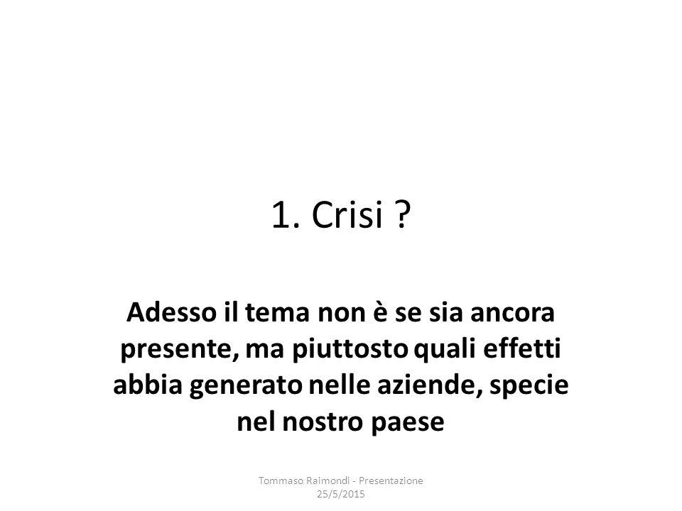 Ma tornando alla crisi si pone ora un interessante interrogativo: Tommaso Raimondi - Presentazione 25/5/2015