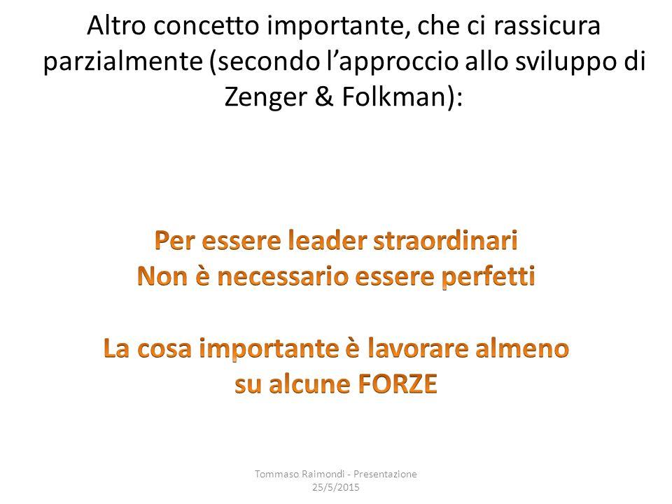 Altro concetto importante, che ci rassicura parzialmente (secondo l'approccio allo sviluppo di Zenger & Folkman): Tommaso Raimondi - Presentazione 25/5/2015
