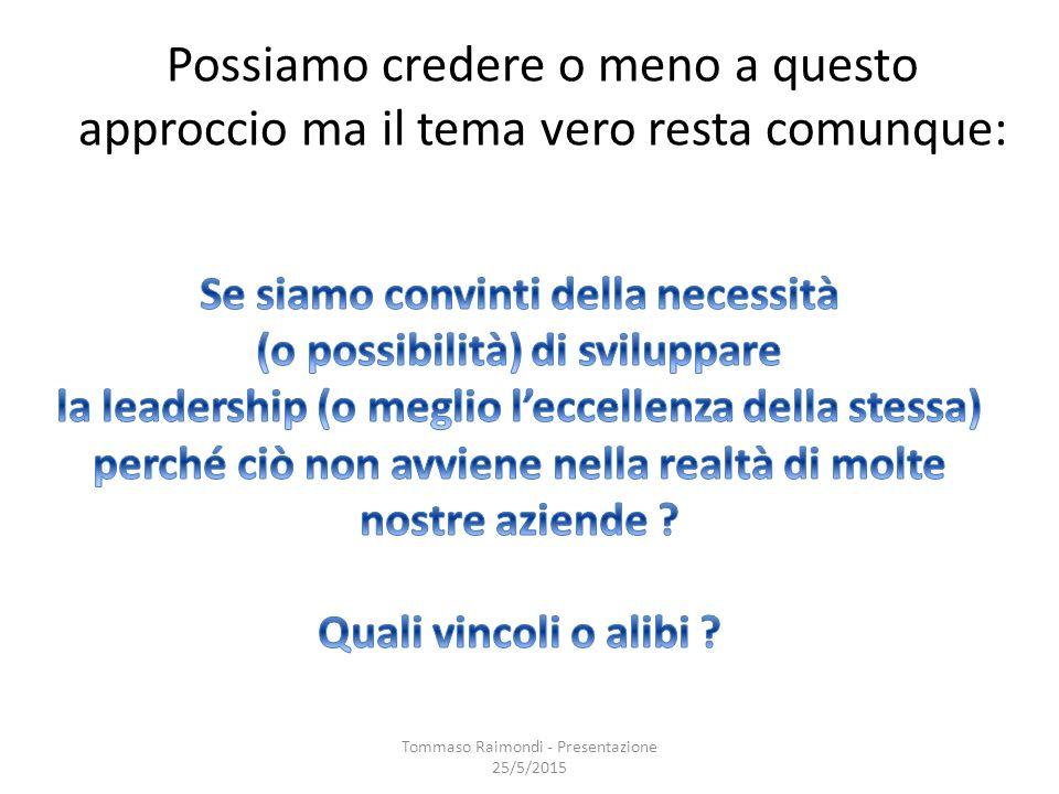 Possiamo credere o meno a questo approccio ma il tema vero resta comunque: Tommaso Raimondi - Presentazione 25/5/2015
