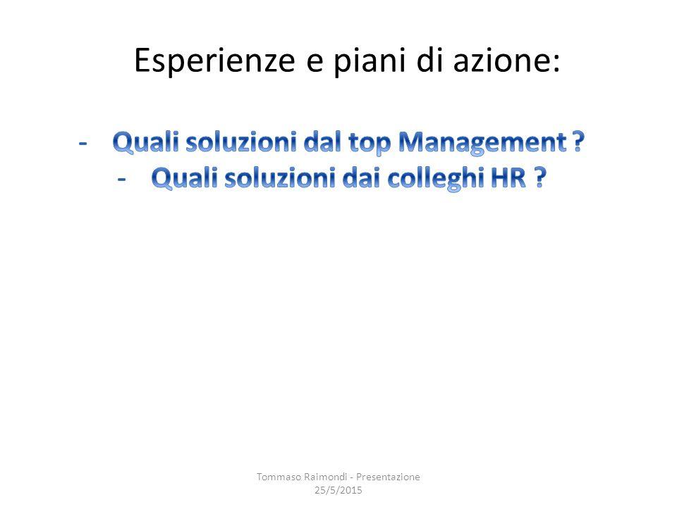 Esperienze e piani di azione: Tommaso Raimondi - Presentazione 25/5/2015
