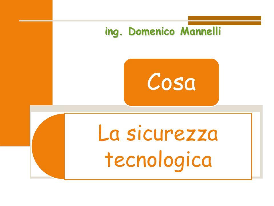 La sicurezza tecnologica Cosa ing. Domenico Mannelli
