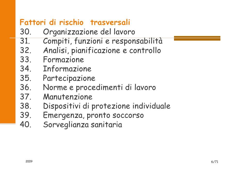 Fattori di rischio trasversali 30.Organizzazione del lavoro 31.Compiti, funzioni e responsabilità 32.Analisi, pianificazione e controllo 33.Formazione
