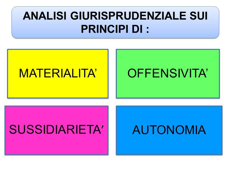 ANALISI GIURISPRUDENZIALE SUI PRINCIPI DI : MATERIALITA' OFFENSIVITA' SUSSIDIARIETA ' AUTONOMIA