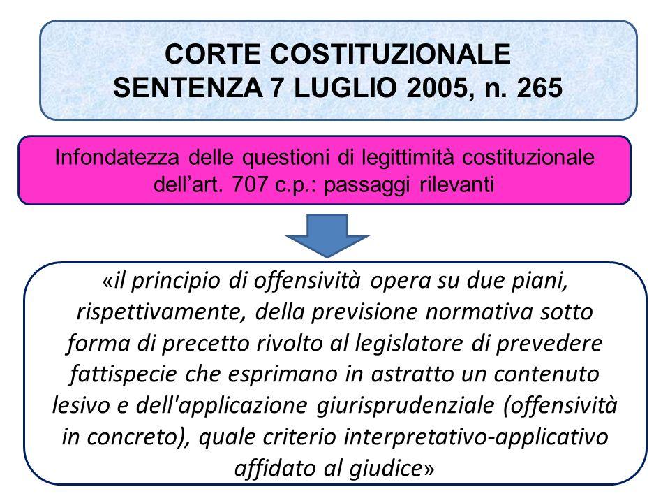 CORTE COSTITUZIONALE SENTENZA 7 LUGLIO 2005, n. 265 Infondatezza delle questioni di legittimità costituzionale dell'art. 707 c.p.: passaggi rilevanti