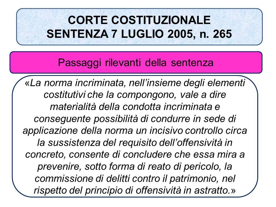«La norma incriminata, nell'insieme degli elementi costitutivi che la compongono, vale a dire materialità della condotta incriminata e conseguente pos