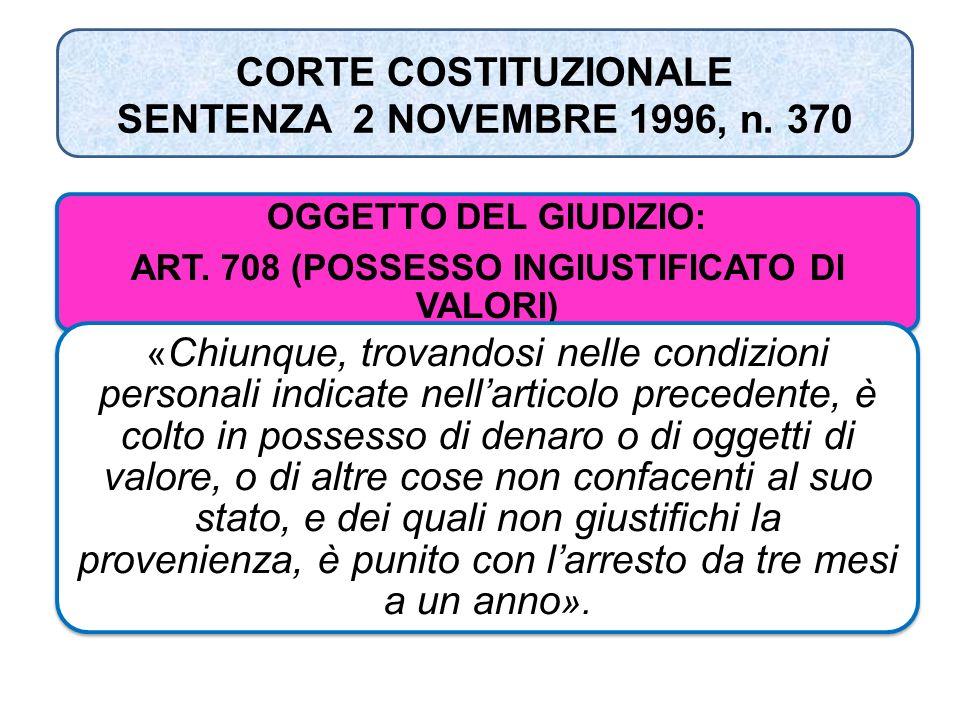 CORTE COSTITUZIONALE SENTENZA 2 NOVEMBRE 1996, n. 370 OGGETTO DEL GIUDIZIO: ART. 708 (POSSESSO INGIUSTIFICATO DI VALORI) « Chiunque, trovandosi nelle