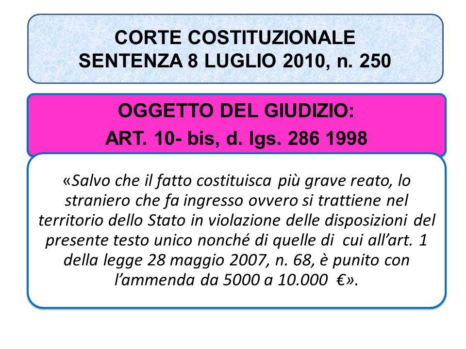CORTE COSTITUZIONALE SENTENZA 8 LUGLIO 2010, n. 250 OGGETTO DEL GIUDIZIO: ART. 10- bis, d. lgs. 286 1998 «Salvo che il fatto costituisca più grave rea