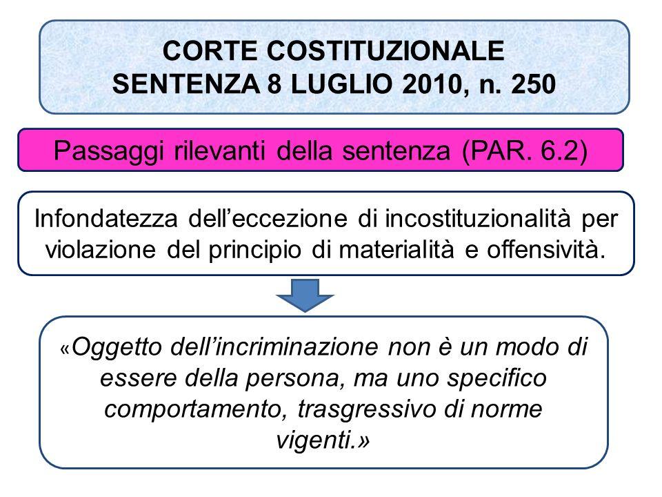 CORTE COSTITUZIONALE SENTENZA 8 LUGLIO 2010, n. 250 Passaggi rilevanti della sentenza (PAR. 6.2) Infondatezza dell'eccezione di incostituzionalità per