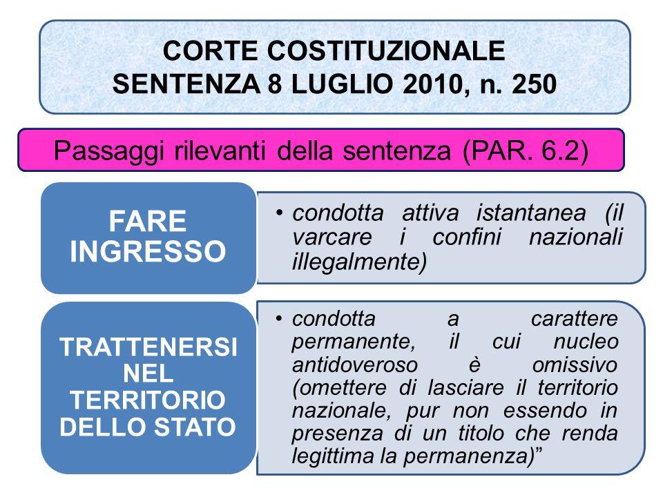 CORTE COSTITUZIONALE SENTENZA 8 LUGLIO 2010, n. 250 Passaggi rilevanti della sentenza (PAR. 6.2) condotta attiva istantanea (il varcare i confini nazi