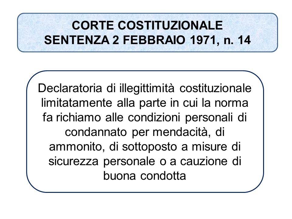 CORTE COSTITUZIONALE SENTENZA 2 FEBBRAIO 1971, n. 14 Declaratoria di illegittimità costituzionale limitatamente alla parte in cui la norma fa richiamo