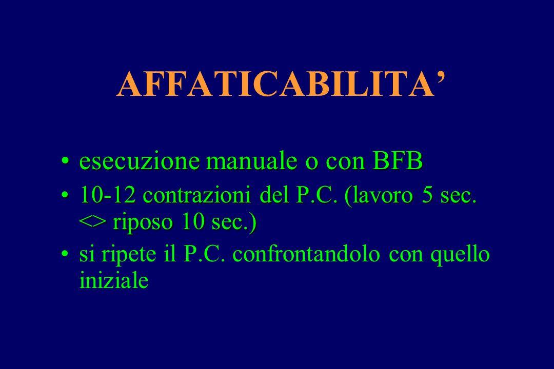 AFFATICABILITA' esecuzione manuale o con BFBesecuzione manuale o con BFB 10-12 contrazioni del P.C. (lavoro 5 sec. <> riposo 10 sec.)10-12 contrazioni