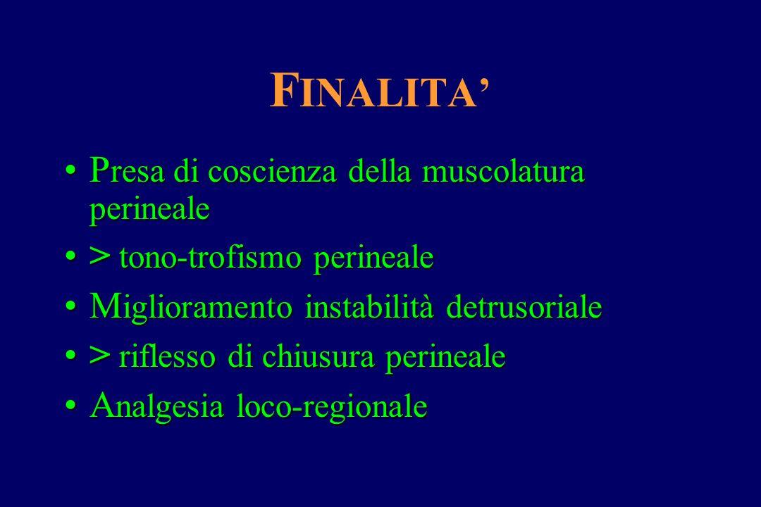 F INALITA' P resadi coscienza della muscolatura perinealeP resa di coscienza della muscolatura perineale > tono-trofismo perineale> tono-trofismo peri