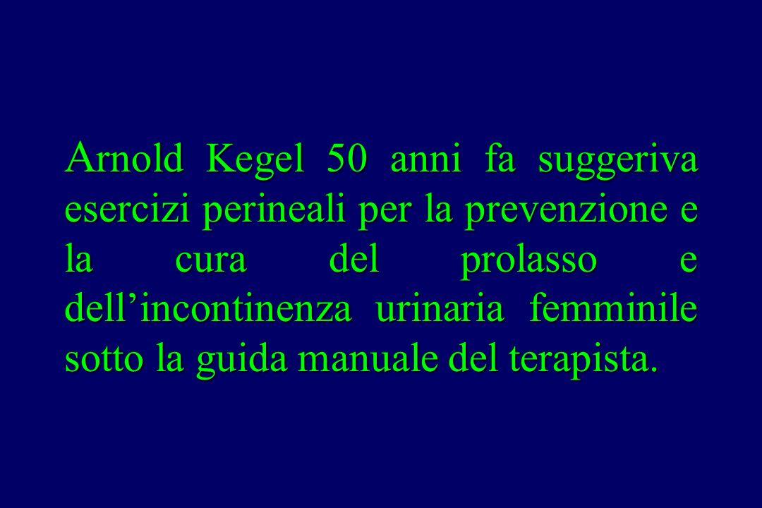 A rnold Kegel 50 anni fa suggeriva esercizi perineali per la prevenzione e la cura del prolasso e dell'incontinenza urinaria femminile sotto la guida