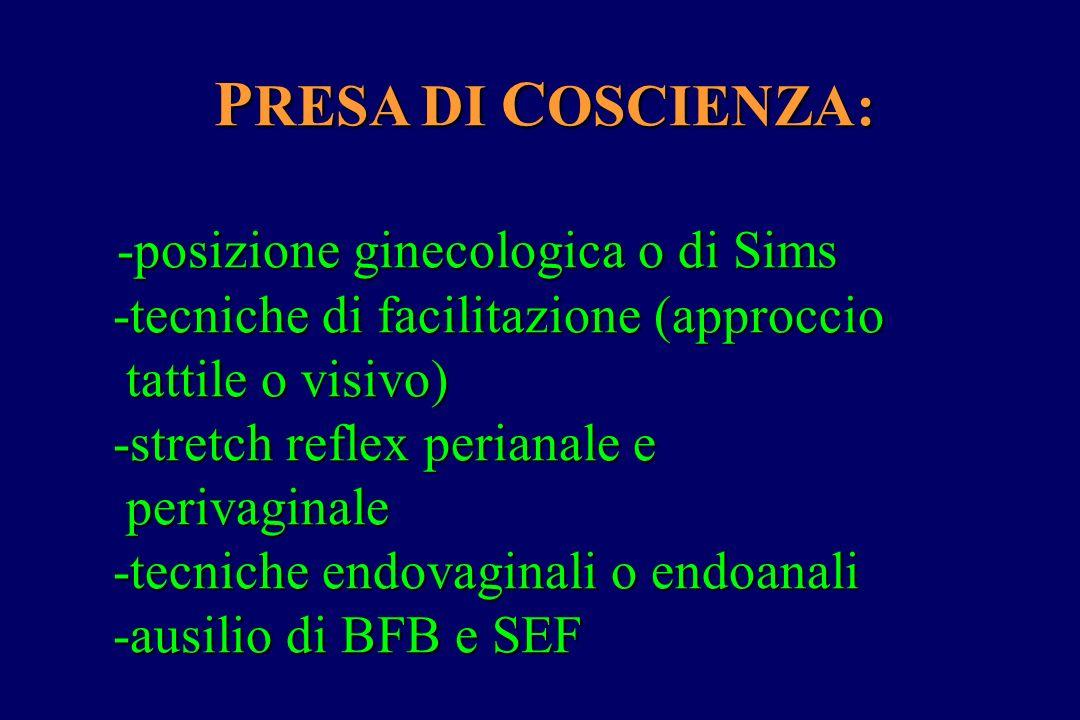 P RESA DI C OSCIENZA: -posizione ginecologica o di Sims -posizione ginecologica o di Sims -tecniche di facilitazione (approccio -tecniche di facilitaz