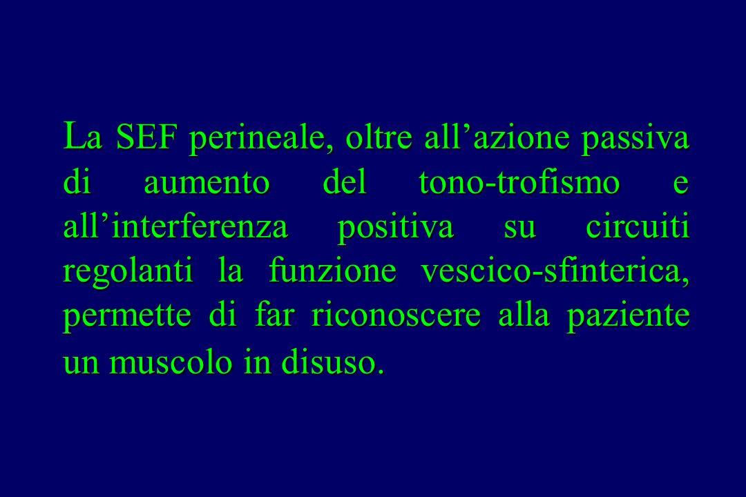 L a SEF perineale, oltre all'azione passiva di aumento del tono-trofismo e all'interferenza positiva su circuiti regolanti la funzione vescico-sfinter