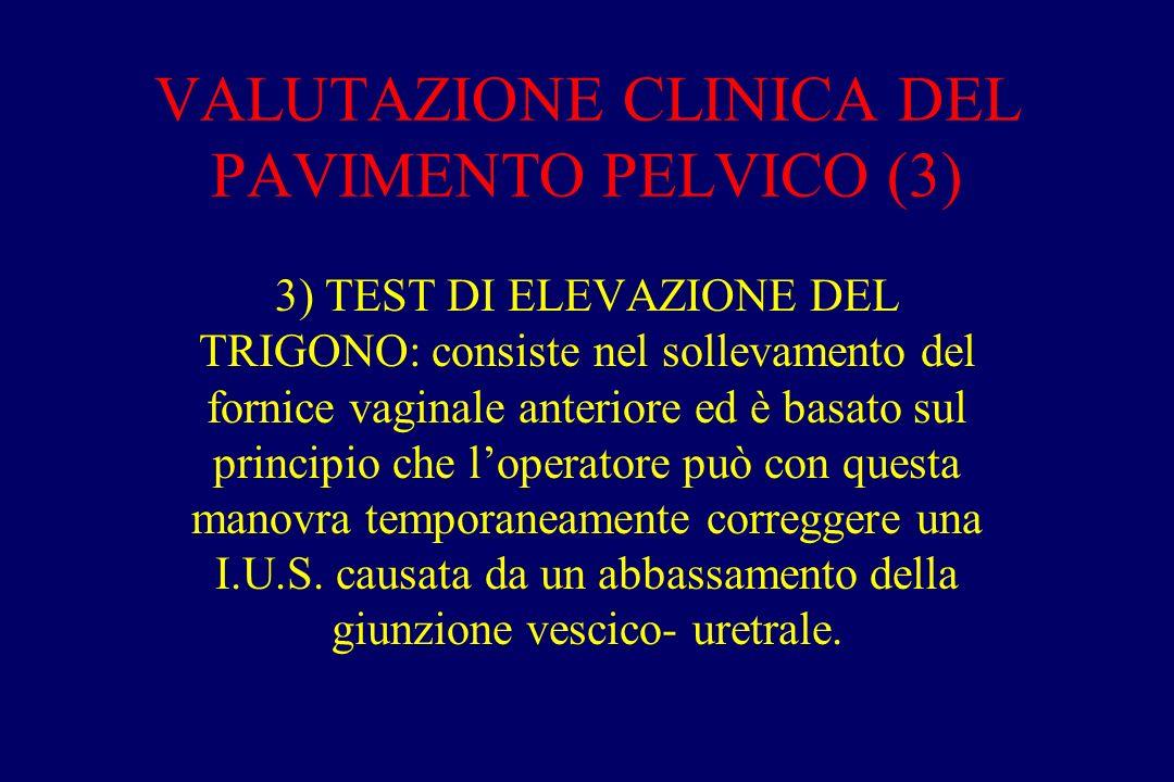 VALUTAZIONE CLINICA DEL PAVIMENTO PELVICO (3) 3) TEST DI ELEVAZIONE DEL TRIGONO: consiste nel sollevamento del fornice vaginale anteriore ed è basato