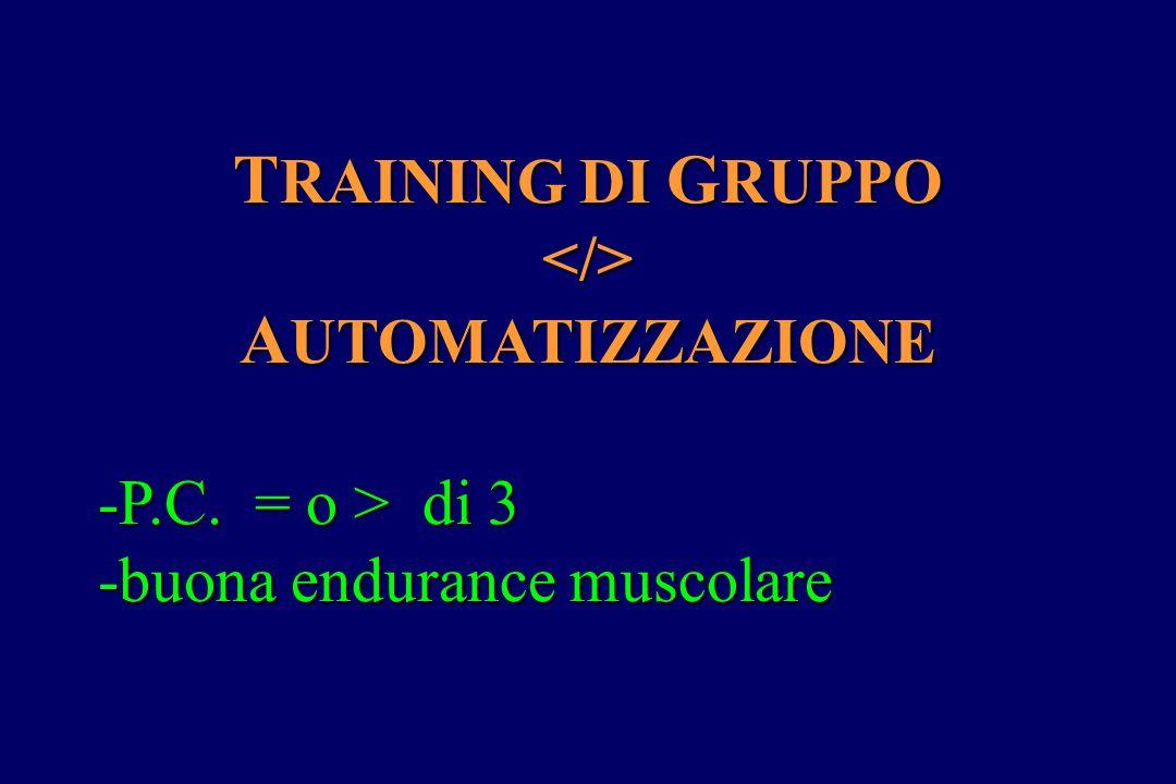 T RAINING DI G RUPPO </> A UTOMATIZZAZIONE -P.C. = o > di 3 -P.C. = o > di 3 -buona endurance muscolare -buona endurance muscolare