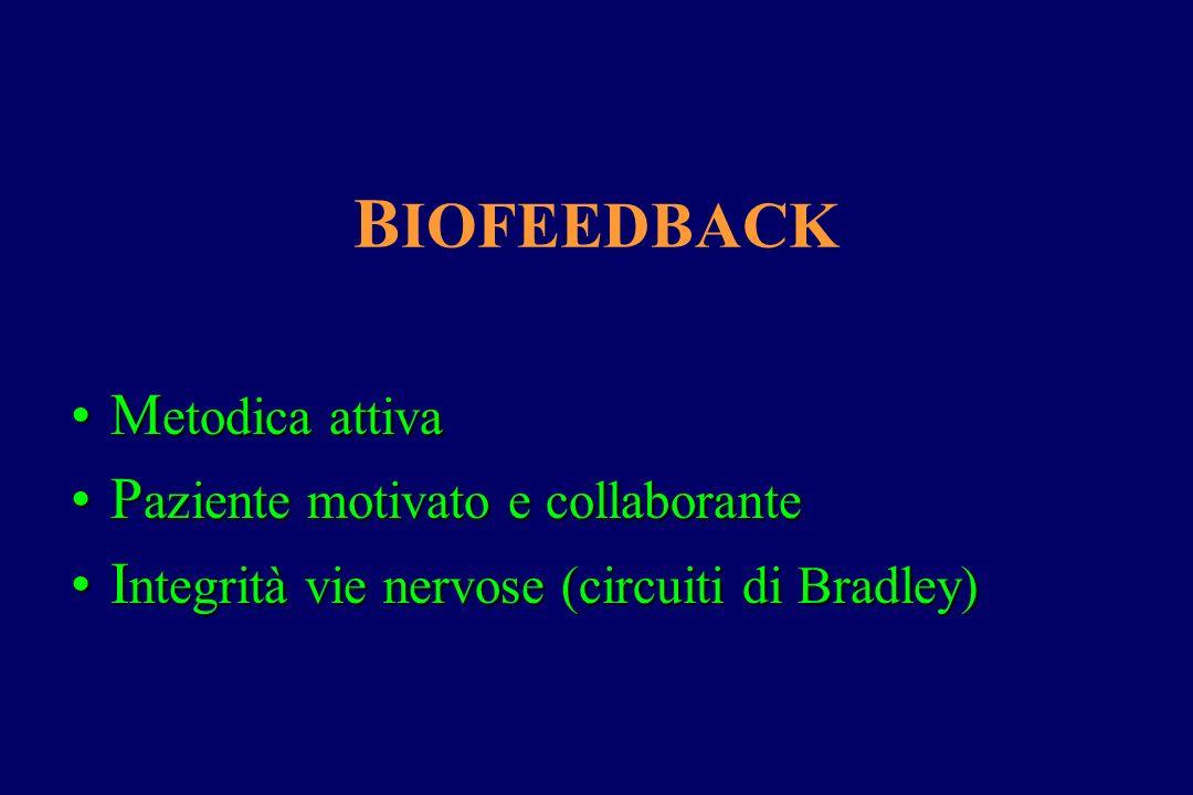B IOFEEDBACK M etodica attivaM etodica attiva P aziente motivato e collaboranteP aziente motivato e collaborante I ntegrità vie nervose (circuiti di B