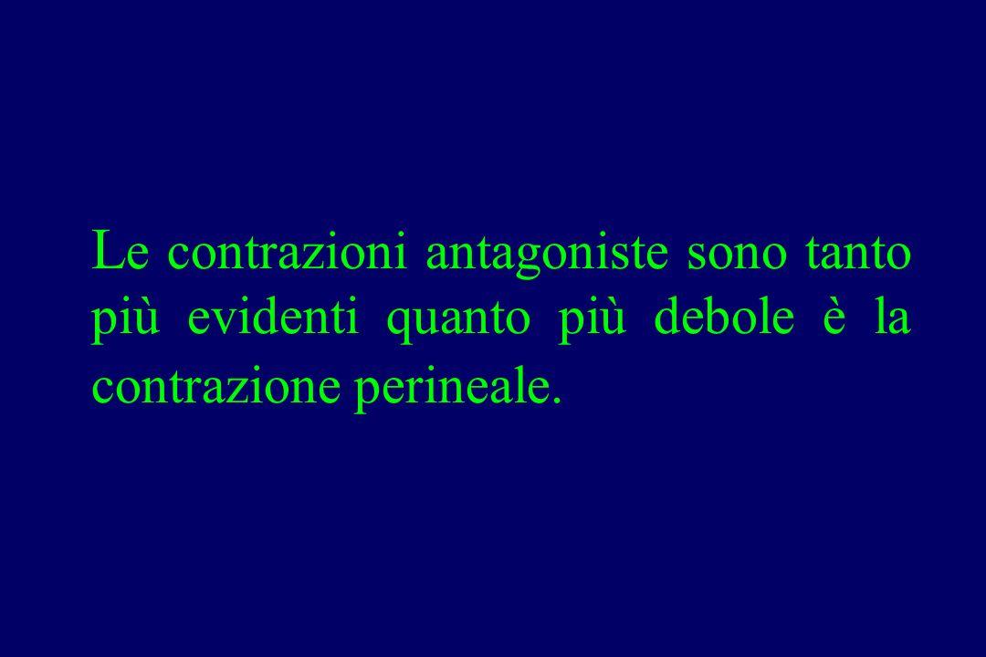 L e contrazioni antagoniste sono tanto più evidenti quanto più debole è la contrazione perineale.