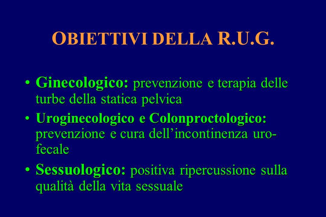 O BIETTIVI DELLA R.U.G. Ginecologico: prevenzione e terapia delle turbe della statica pelvicaGinecologico: prevenzione e terapia delle turbe della sta