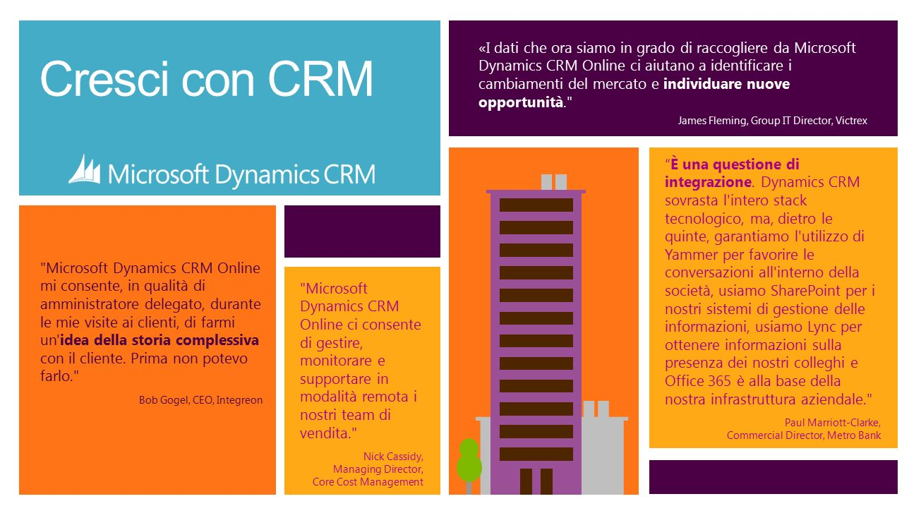 Cresci con CRM Microsoft Dynamics CRM Online ci consente di gestire, monitorare e supportare in modalità remota i nostri team di vendita. Nick Cassidy, Managing Director, Core Cost Management Microsoft Dynamics CRM Online mi consente, in qualità di amministratore delegato, durante le mie visite ai clienti, di farmi un idea della storia complessiva con il cliente.