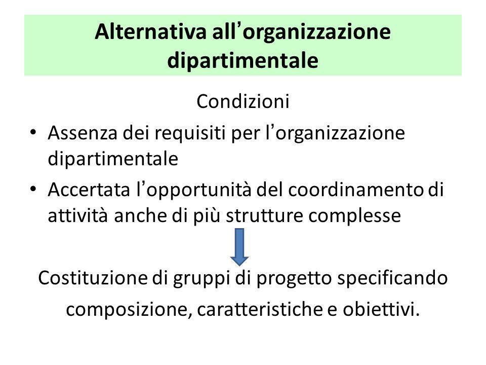 Alternativa all'organizzazione dipartimentale Condizioni Assenza dei requisiti per l'organizzazione dipartimentale Accertata l'opportunità del coordin