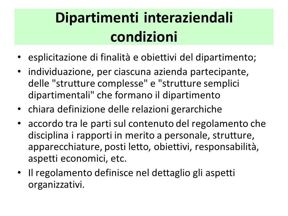 Dipartimenti interaziendali condizioni esplicitazione di finalità e obiettivi del dipartimento; individuazione, per ciascuna azienda partecipante, del