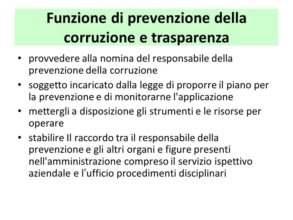 Funzione di prevenzione della corruzione e trasparenza provvedere alla nomina del responsabile della prevenzione della corruzione soggetto incaricato