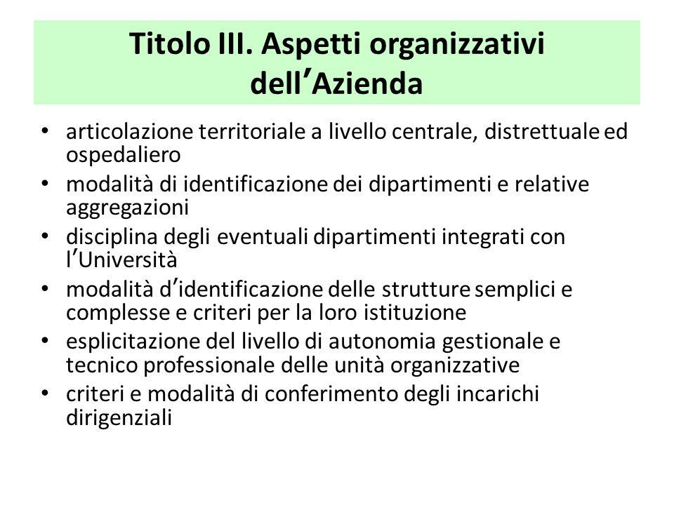 Titolo III. Aspetti organizzativi dell'Azienda articolazione territoriale a livello centrale, distrettuale ed ospedaliero modalità di identificazione