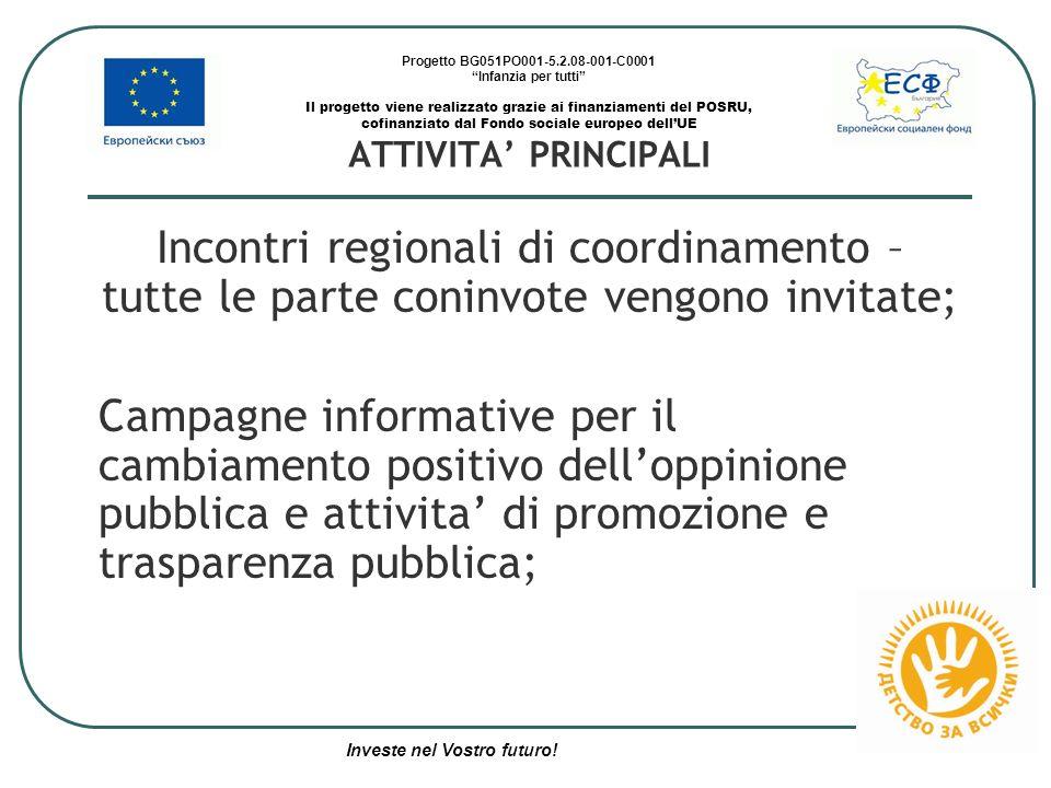 Progetto BG051PO001-5.2.08-001-C0001 Infanzia per tutti Il progetto viene realizzato grazie ai finanziamenti del POSRU, cofinanziato dal Fondo sociale europeo dell'UE ATTIVITA' PRINCIPALI Incontri regionali di coordinamento – tutte le parte coninvote vengono invitate; Campagne informative per il cambiamento positivo dell'oppinione pubblica e attivita' di promozione e trasparenza pubblica; Investe nel Vostro futuro!