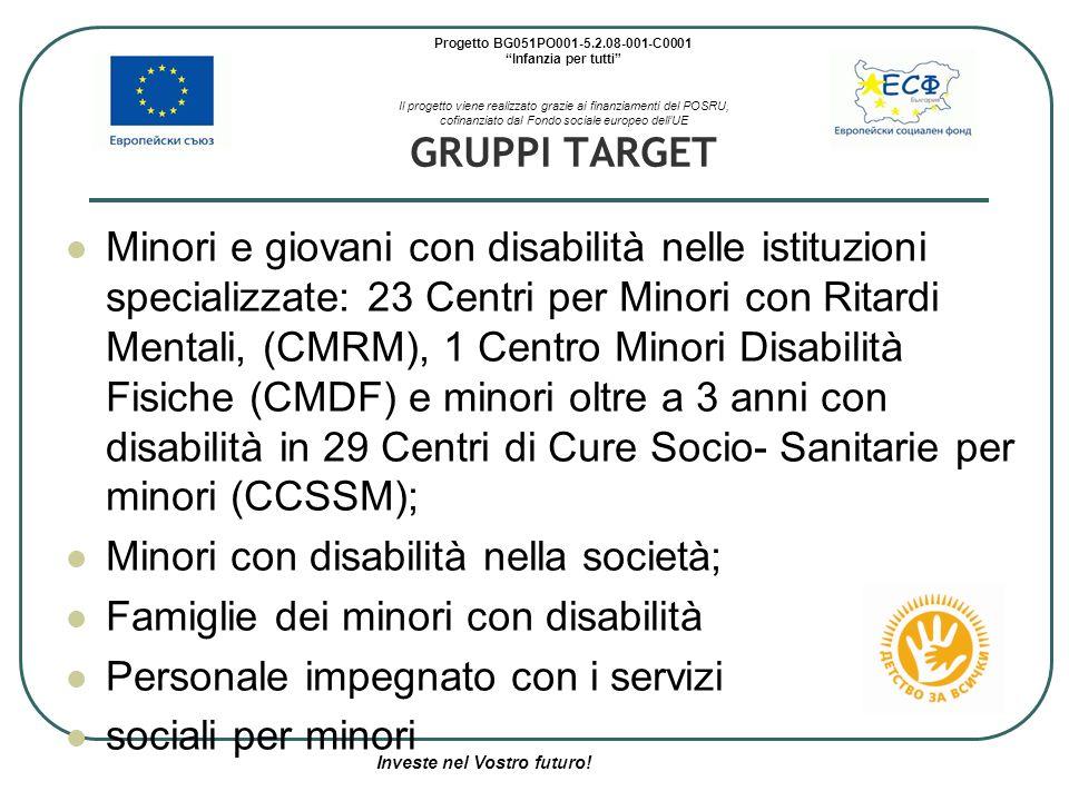 Progetto BG051PO001-5.2.08-001-C0001 Infanzia per tutti Il progetto viene realizzato grazie ai finanziamenti del POSRU, cofinanziato dal Fondo sociale europeo dell'UE GRUPPI TARGET Minori e giovani con disabilità nelle istituzioni specializzate: 23 Centri per Minori con Ritardi Mentali, (CMRM), 1 Centro Minori Disabilità Fisiche (CMDF) e minori oltre a 3 anni con disabilità in 29 Centri di Cure Socio- Sanitarie per minori (CCSSM); Minori con disabilità nella società; Famiglie dei minori con disabilità Personale impegnato con i servizi sociali per minori Investe nel Vostro futuro!